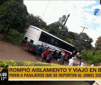 Dio positivo a coronavirus y viajó en bus hasta el interior del país
