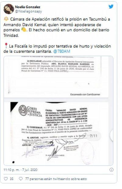 Ratifican prisión en Tacumbú para hombre que intentó robar pomelos