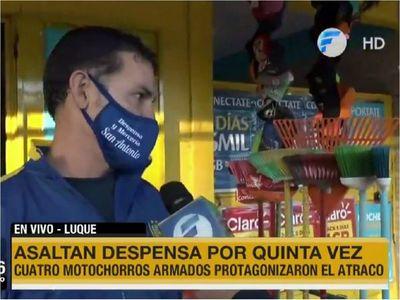 Despensero sufre por quinta vez violento asalto en Luque
