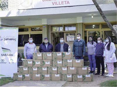 Grupo Sarabia contribuye con 1.000 litros más de  alcohol en gel a instituciones del Departamento Central