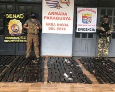 Caen 308 kilos de droga en zona ribereña del Alto Paraná
