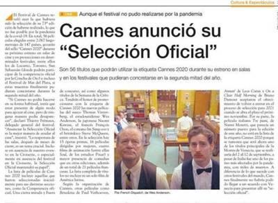 La Crónica Francesa fue distinguida en la selección oficial del Festival de Cannes 2020