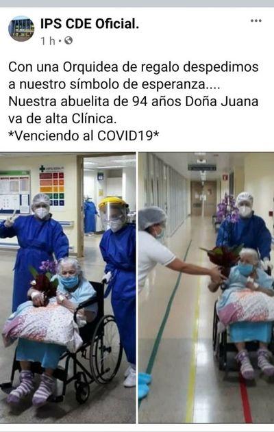 Mujer de 94 años vence al COVID-19 en Ciudad del Este