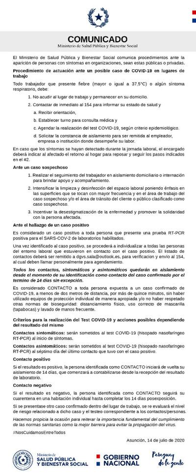 Que se debe hacer en organizaciones públicas o privadas en caso de posible caso COVID-19