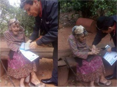 Abuela  de 100 años recibió pensión por primera vez