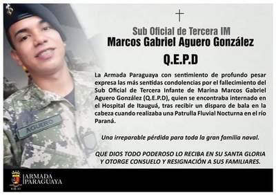 Fallece joven militar baleado durante patrulla fluvial