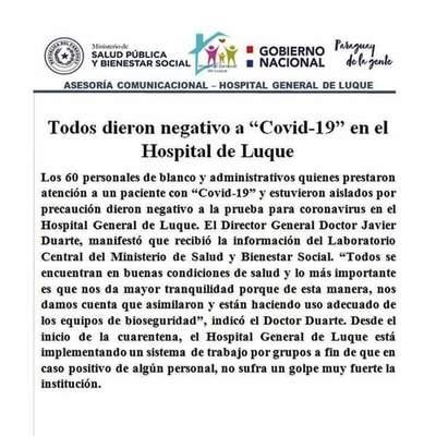 Negativos a Covid-19 en Hospital de Luque • Luque Noticias