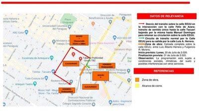 Un tramo de la avenida Estados Unidos estará clausurado desde este lunes