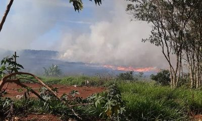 Incendio de pastizal  afectó normal tránsito  sobre Ruta Py 02, en  zona de Minga Guazú – Diario TNPRESS