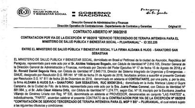 Salud adjudicó DOS VECES a Sanatorio San Sebastián servicio de UTI en menos de UN AÑO