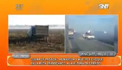 Humareda causa múltiple choque en la Transchaco