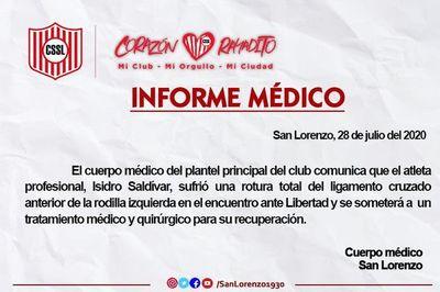 Confirman lesión de Saldívar