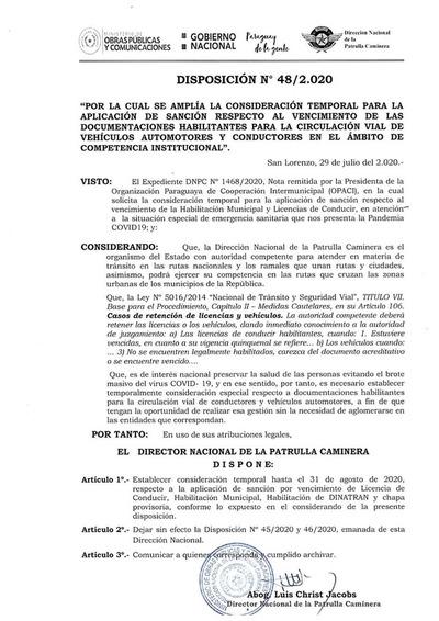 Caminera: No aplicarán sanción hasta el 31 de agosto