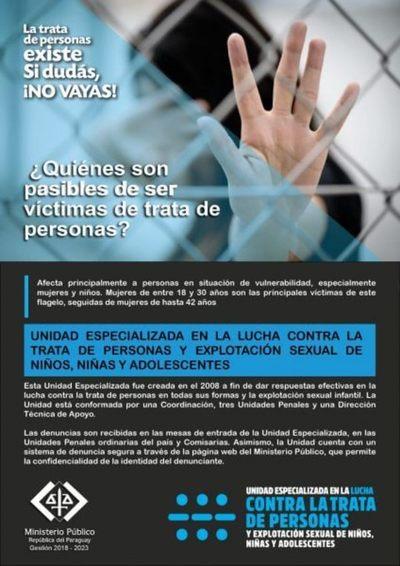 Fiscalía lanza campaña contra trata de personas