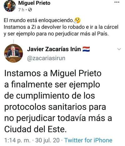 Tras blanqueo, Zacarías reaparece cuestionando a Miguel Prieto