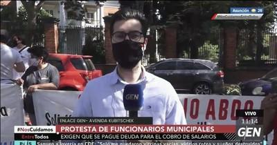 Manifestación de funcionarios de la Municipalidad: Estado adeuda 55 millones de dólares