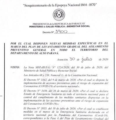Poder ejecutivo emite decreto que dispone medidas especiales en el Dpto. de Alto Paraná