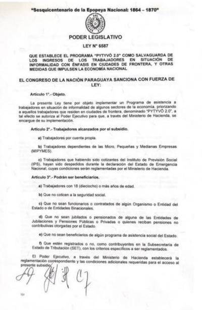"Ejecutivo promulga ley de asistencia ""Pytyvõ 2.0"""