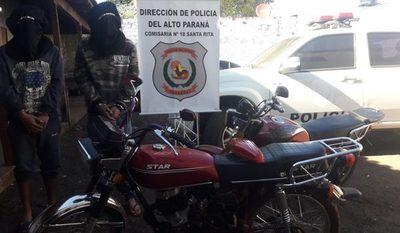 Capturan a dos jóvenes con una  motocicleta robada, en Santa Rita – Diario TNPRESS