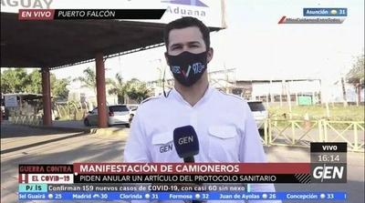 HOY / Manifestación de camioneros en Puerto Falcón, piden anular el artículo 13 del protocolo sanitario