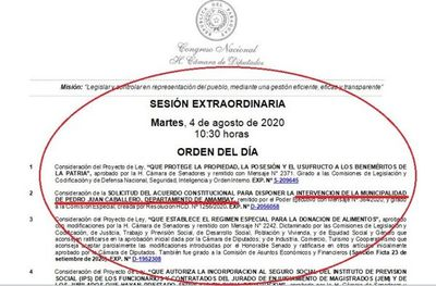 Intervención Municipalidad de Pedro Juan; se tratará hoy a las 10:30 en sesión extraordinaria