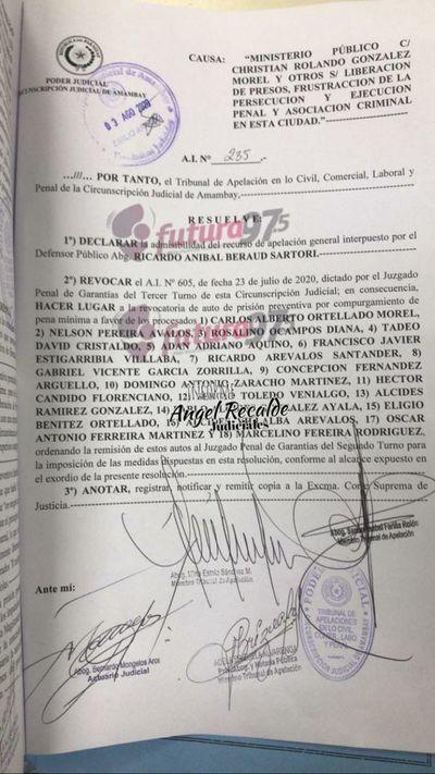 Tribunal de Apelación otorgó medidas a los 18 procesados  por la fuga en la penitenciaria regional de Pedro Juan Caballero.