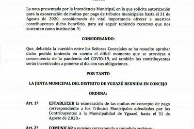 Exoneran multas hasta finales de agosto en Yguazú