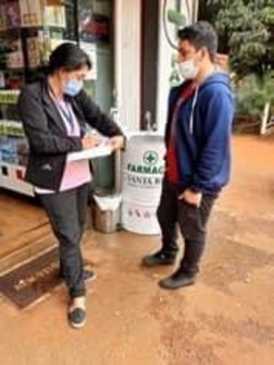 Verifican cumplimiento de medidas sanitarias en locales comerciales de Minga Guazú