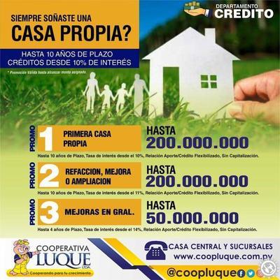Cooperativa Luque ofrece créditos hasta G. 200 millones para la casa propia • Luque Noticias