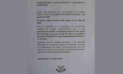 Confitería cierra sus puertas por caso positivo de Covid-19 – Prensa 5