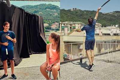 Roger Federer sorprendió a dos fanáticas y jugó con ellas desde una terraza
