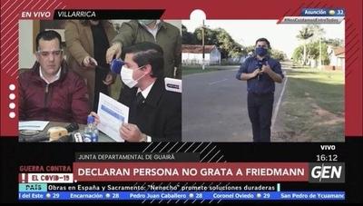HOY / Rodolfo Friedmann es declarado persona no grata por la Junta Departamental de Guairá