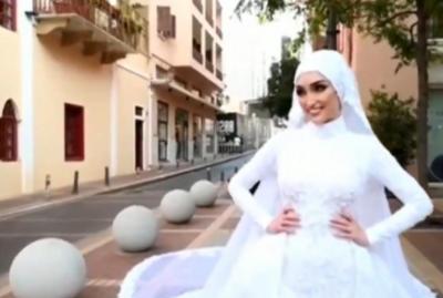 ¡Quedó todo grabado! Una novia en plena de sesión de fotos estuvo a metros de la explosión en Beirut