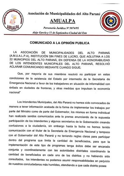 Mayoría de intendentes se suman a postura de Miguel Prieto