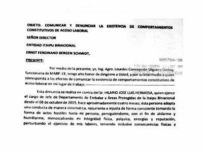 Acoso en Itaipú: del quebranto, funcionaria sufrió derrame ocular y facial