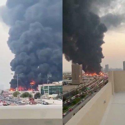 Mercado ardió en llamas en Emiratos Árabes Unidos, un día después de la explosión en Beirut