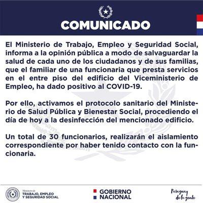 Una treintena de funcionarios del Ministerio del Trabajo a cuarentena, por casos sospechoso de funcionaria