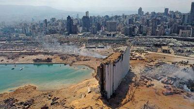 Así quedó la zona de la potente explosión en el puerto de Beirut