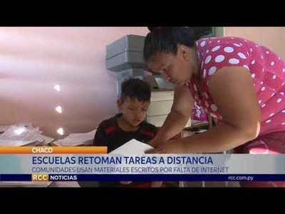 COMUNIDADES DE PESEMPO'O USAN MATERIALES ESCRITOS POR FALTA DE INTERNET EN CLASES A DISTANCIA