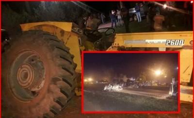 Choque entre un tractor y un camión dejó un lesionado y varios daños