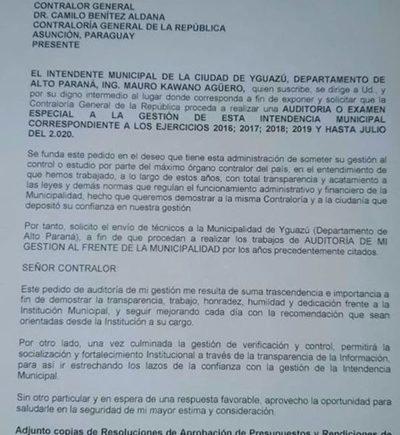 Intendente de Yguazú pide que Contraloría audite su gestión