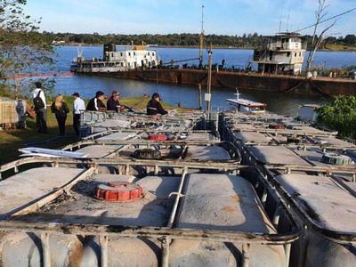 La primera etapa del vaciamiento del buque  concluyó en Cambyretá