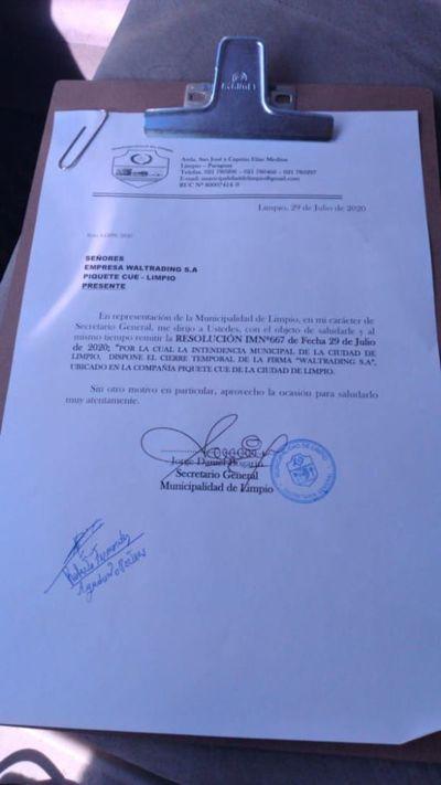 Municipalidad de Limpio ordenó el cierre temporal de curtiembre
