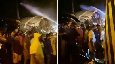 Un avión de Air India Express con unas 190 personas a bordo se parte en dos al salirse de la pista