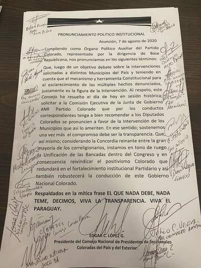 Presidentes de seccionales coloradas solictan a Comisión Ejecutiva que recomiende a diputados de la ANR impulsar intervención a municipios