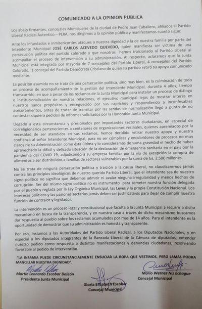 Mayoria de concejales lanzan comunicado ante los ataques infundados e inmisericordes del Intendente