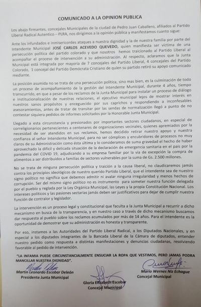 Mayoria de concejales lanzan comunicado ante inmisericordes e infundados ataques del Intendente