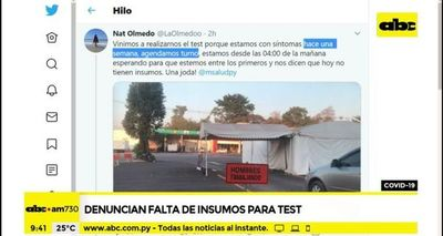 Denuncian falta de insumos para test covid-19