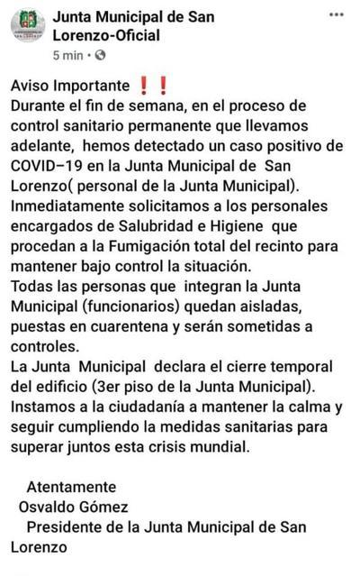 Detectan caso positivo en la Junta Municipal de San Lorenzo