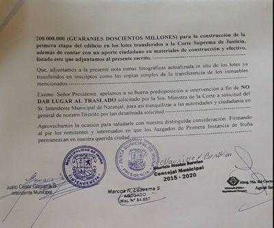 Rechazan imposición de ministra para trasladar juzgados de Iruña a Naranjal